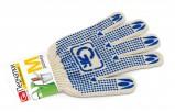 GRIFON Перчатки хлопчатобумажные белые с ПВХ напылением, размер М